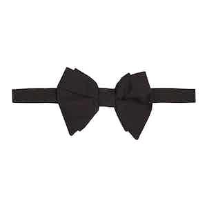 Black Grosgrain Silk Pre-Tied Bow Tie