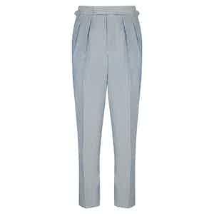 Seersucker Wool Slim Aleks Trousers