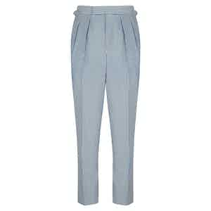 Seersucker Wool Slim Aleks Trousers