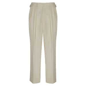 Cream Gabardine Pleated Aleksandar Trousers