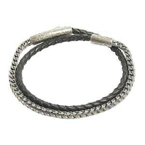 Oxidised Silver and Woven Black Leather Double-Wrap Lash Bracelet