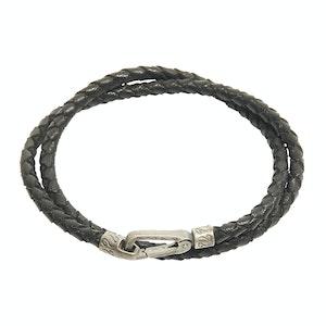 Black Woven Leather Double-Wrap Lash Bracelet
