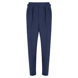 Navy Linen Slim Aleks Trousers