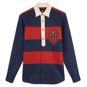 Wellington Red and Blue Grenfell Cloth Rugby Shirt