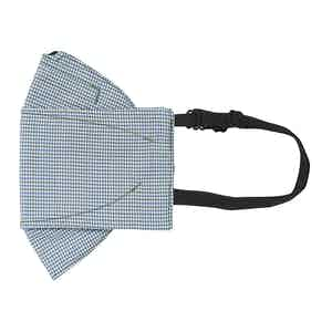 Green and Blue Check Poplin Mask
