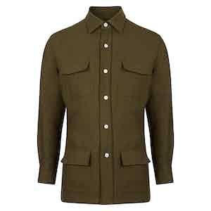 Linen Safari Khaki Overshirt