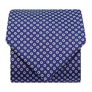 Flower-Dot Silk Printed Tie Navy/ White