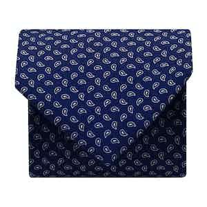 Paisley Silk Printed Tie Navy/White