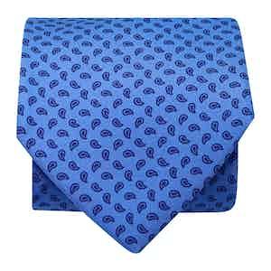 Paisley Silk Printed Tie Sky/Navy
