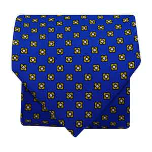 5-Fold Silk Tie with Floral Print Dark Blue