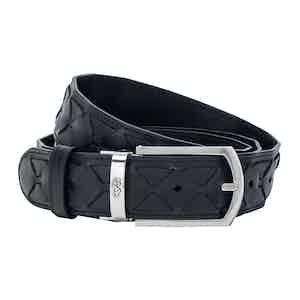 Navy Blue Mosaico Leather Belt