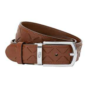 Cognac Mosaico Leather Belt