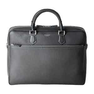 Anthracite Grey Slim Leather Briefcase