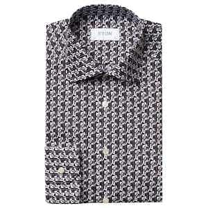 Black and White Art Deco Geometric Print Slim Fit Poplin Shirt