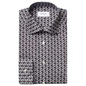 Black and White Art Deco Geometric Print Slim Fit Poplin Shirt