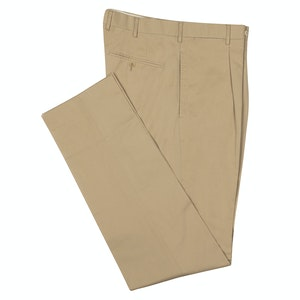 Light Beige Cotton Pleated Trousers
