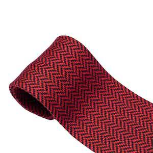 Ruby Red Herringbone Cotton Maglia Tie