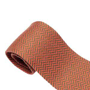 Orange Herringbone Cotton Maglia Tie