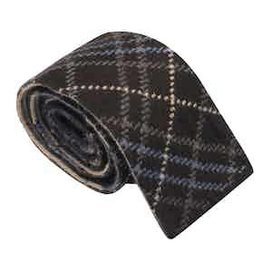 Brown & Azure Wool Maglia Tie