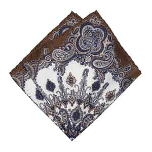 Brown & Blue Paisley Silk Pocket Square