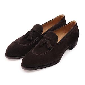 Dark Brown Suede Apron Tassel Loafers