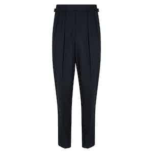 Navy Cotton Slim Aleks Trousers