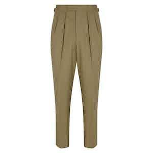 Beige Cotton Slim Aleks Trousers