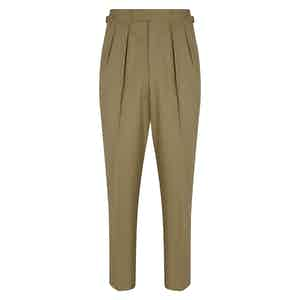 Beige Cotton Slim Aleks Trousers