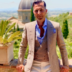 Brown and White Prince of Wales Check Irish Linen Signature Jacket
