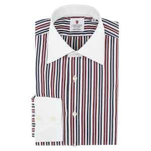 Bordeaux and Blue Cotton Pup Striped Shirt