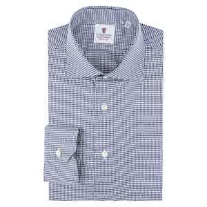 Blue Cotton Piedi De Poule Shirt
