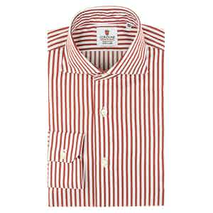 Red and White Cotton Satin Striped Oxford Shirt