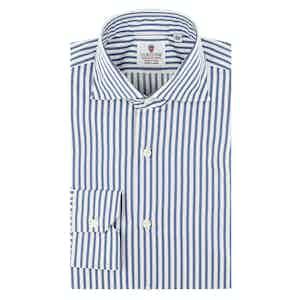 Blue and White Cotton Satin Striped Oxford Shirt