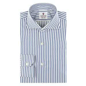 Blue and White Cotton Satin Striped Oxford Shirt