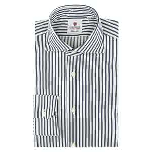 Dark Blue and White Cotton Satin Striped Oxford Shirt