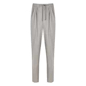 Grey Worsted Flannel Stretch Aleks Trousers