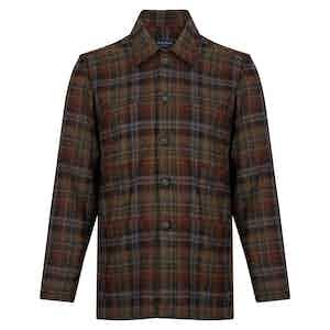 Green, Brown and Burgundy Wool Overshirt