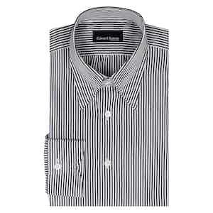 Black Stripe Hidden Button Cotton Poplin Shirt
