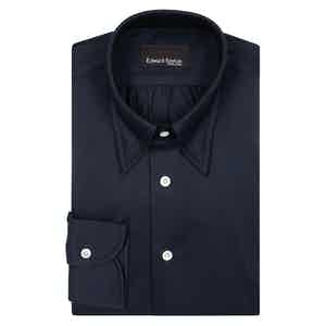 Blue Stretch Hidden Button Cotton Poplin Shirt