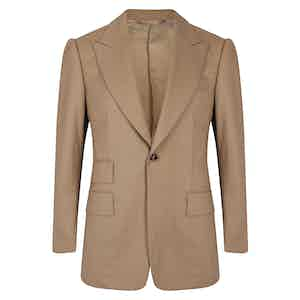Stone VBC Gabardine Single-Breasted Cocktail Suit Jacket