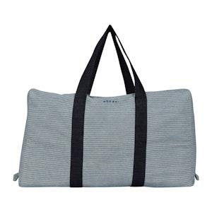 White & Navy Striped Cotton Parachute Bag