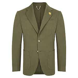 Green Denim Single Breasted Jacket