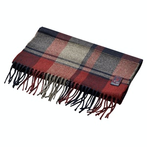 Fox Navy and Wine Cashmere and Merino Wool Scarf