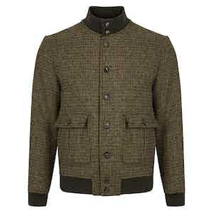 Green Harris Tweed Houndstooth Shetland Valstarino Jacket