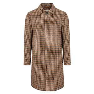 Light Brown and Green Alpaca Wool Houndstooth Raincoat