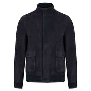 Navy Fly Front Suede Jacket