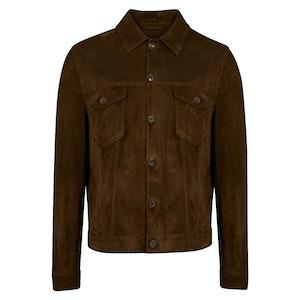 Khaki Button Through Suede Jacket
