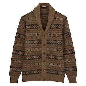 Light Brown Fair Isle Shawl Collar Cardigan