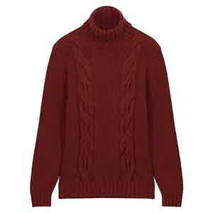 Burgundy Twin-Cable Roll Neck Sweater