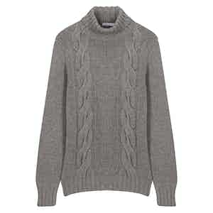 Grey Twin-Cable Roll Neck Sweater